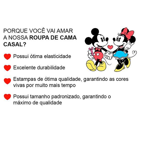 Jogo de Cama Casal Mickey e Minnie Love You Forever Black and Red - 3 Peças