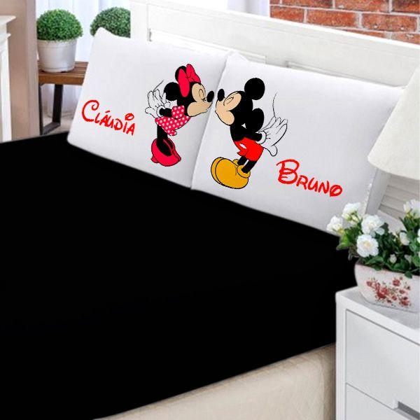 Jogo de Cama Casal Personalizado Mickey e Minnie 3 Peças FR0206