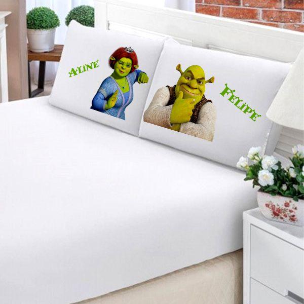 Jogo de Cama Casal Personalizado Shrek e Fiona 3 Peças FR0210