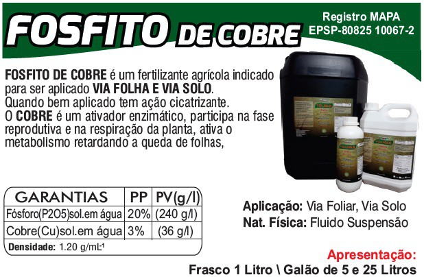 Folhas Fosfito de cobre