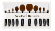 BLACK OVAL BRUSH SET COM 10 ESCOVAS | NEWFACE BRUSHES®