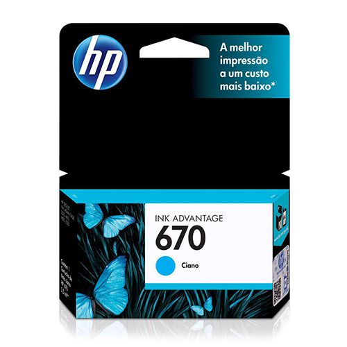 Cartucho HP 670 Cian Original (CZ114AB) 3,5ml