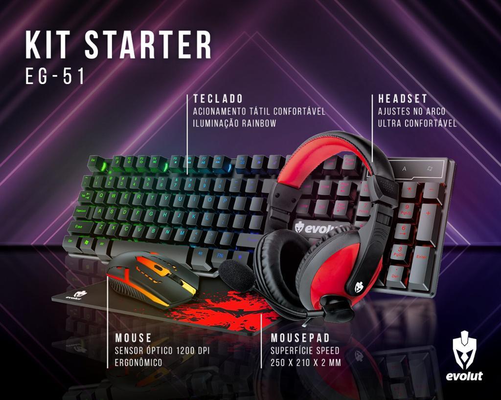 Kit Gamer Evolut EG-51 Teclado + Mouse + Headset + Mousepad
