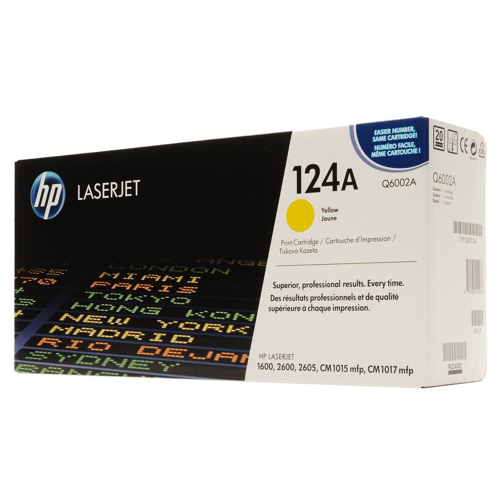 Toner LaserJet amarelo HP 124A  Original (Q6002A)