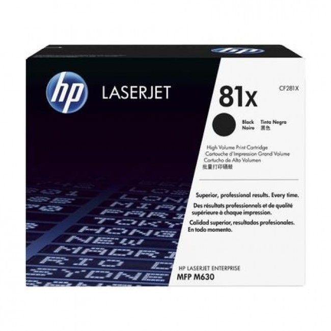 Toner LaserJet preto de alto rendimento HP 81X Original - CF281X|XZ