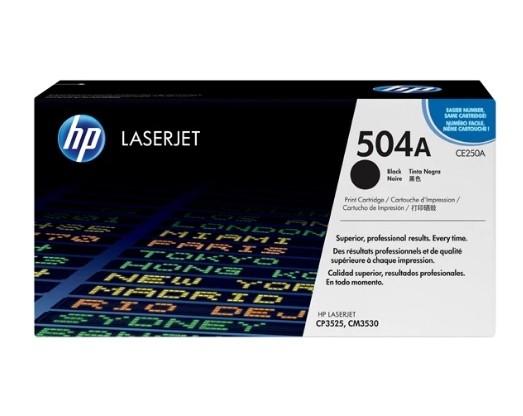 Toner LaserJet preto HP 504A Original (CE250A)