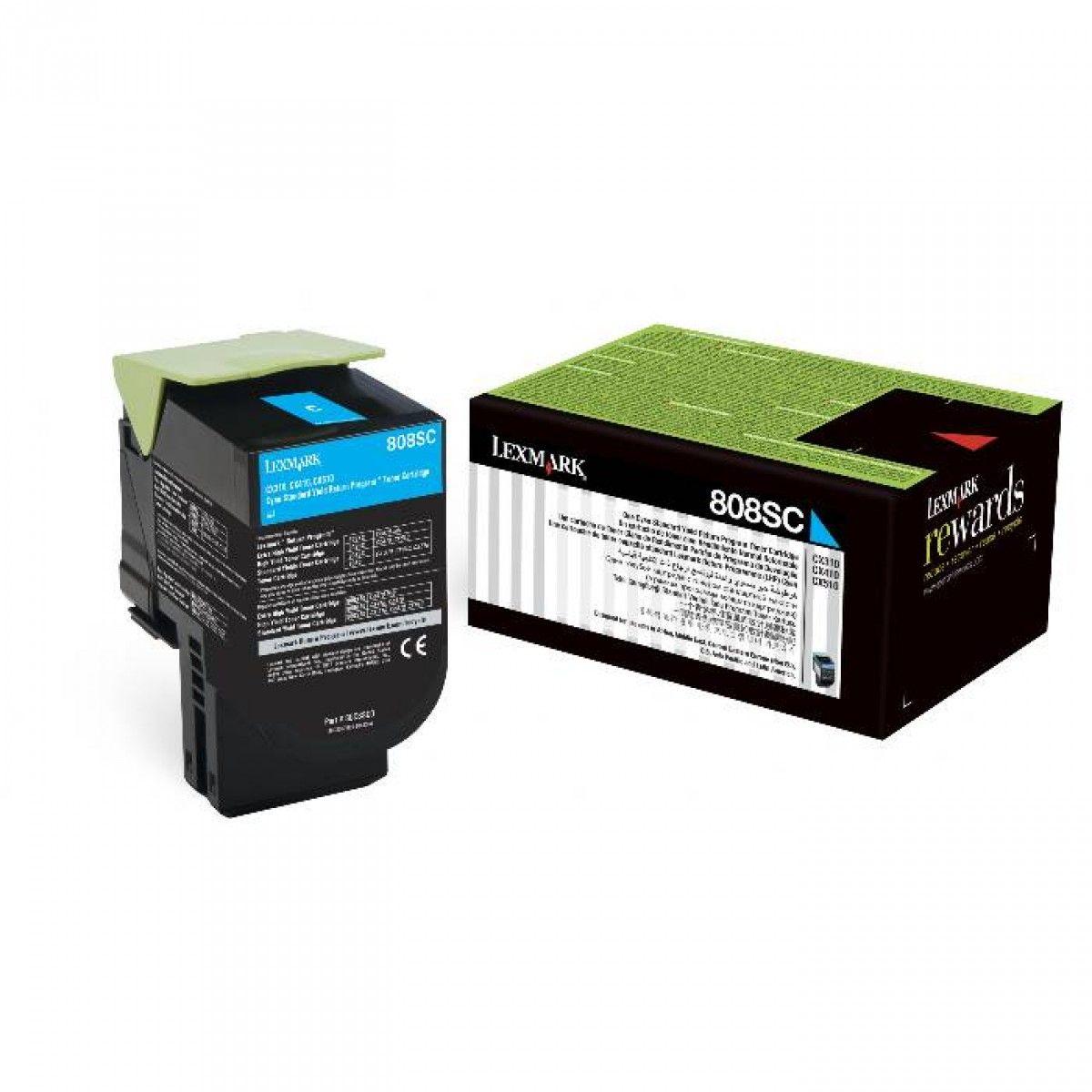 Toner Lexmark 80C8SC0 - Ciano