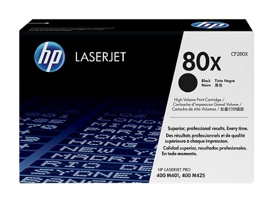Toner original HP LaserJet 80X preto de alto rendimento CF280X