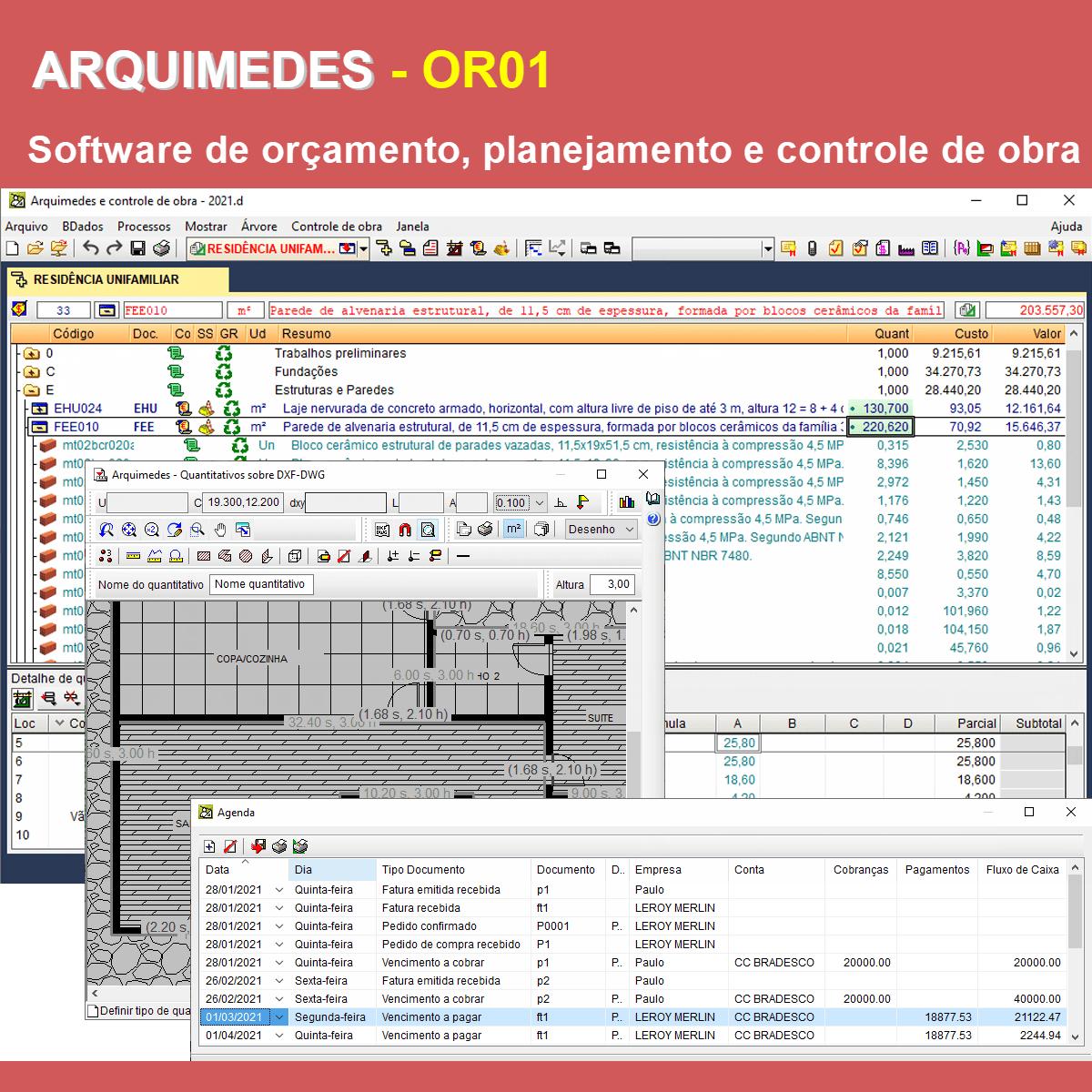 Software Arquimedes OR01 versão 2021 (Licença Eletrônica) incluindo Orçamento, Planejamento, Medição de Obras, Levantamento direto do CAD e Controle de Obras  - MULTIPLUS SOFTWARES