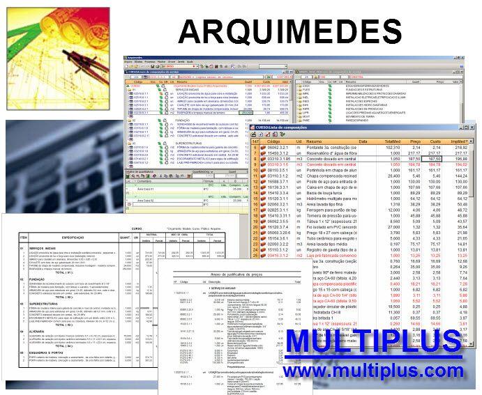 Software Arquimedes OR09 V.2019 incluindo Orçamento, Planejamento, Medição de Obras e Levantamento direto do CAD