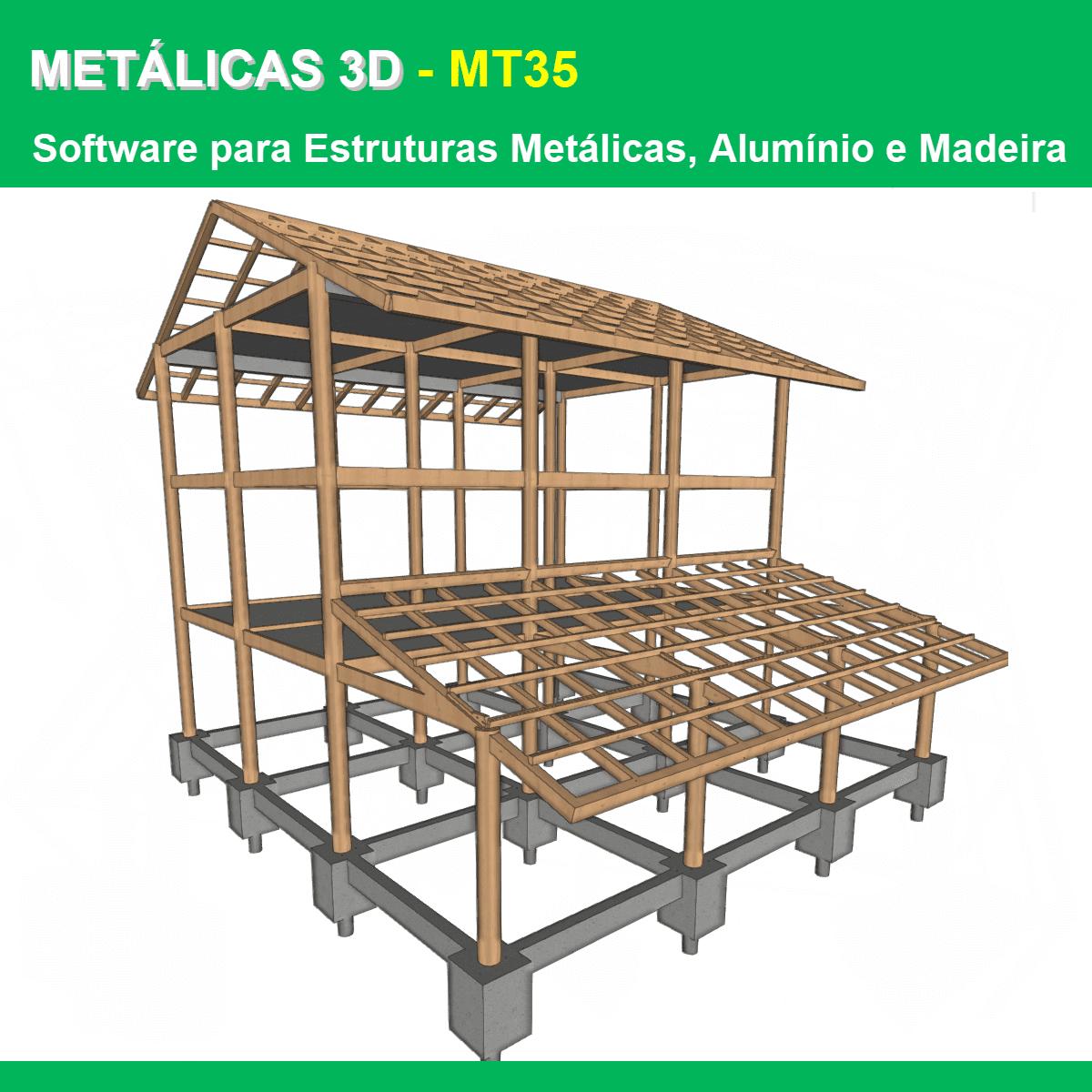 Software Metálicas 3D MT35 versão 2021 (Licença Eletrônica) incluindo Núcleo Básico, Sapatas, Blocos sobre Estacas, Placas de Base, Resistência ao Fogo e Estruturas de Madeira  - MULTIPLUS SOFTWARES