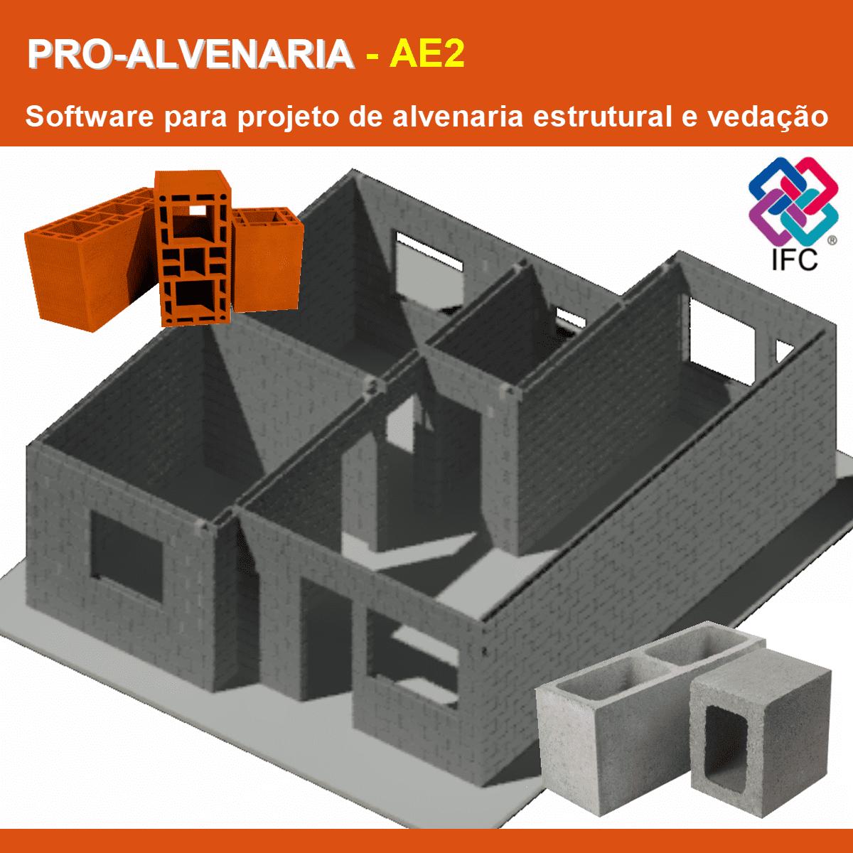 Software PRO-Alvenaria versão 18 incluindo Exportação em IFC Pacote AE2  - MULTIPLUS SOFTWARES