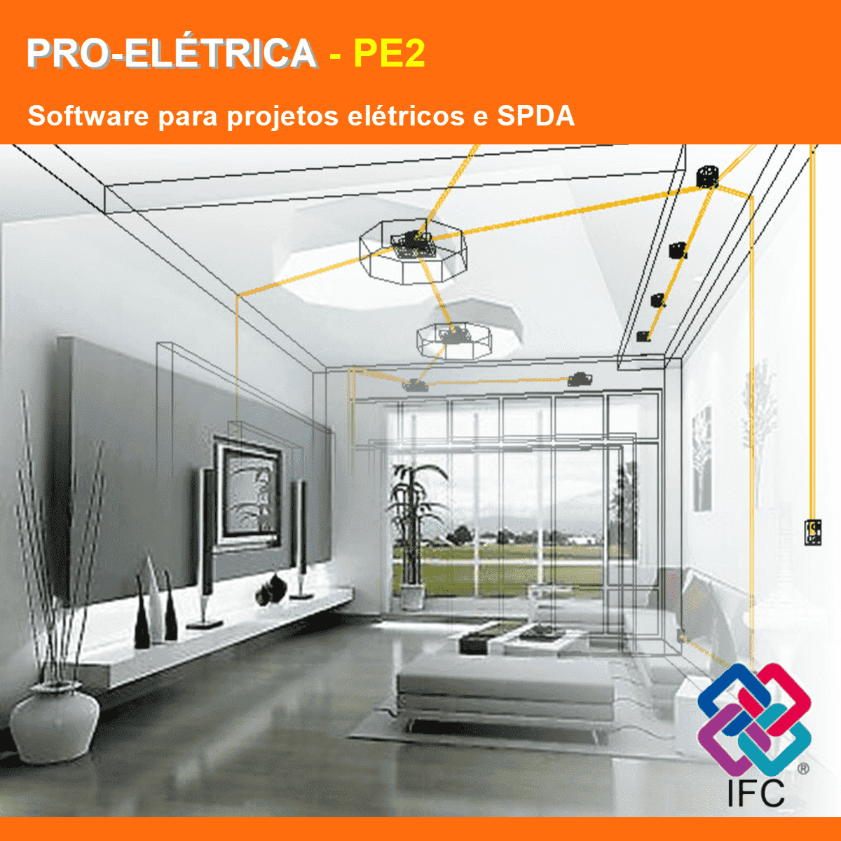 Software PRO-Elétrica versão 18 Pacote PE2 incluindo Detalhamento, Dimensionamento, Cabeamento Estruturado, SPDA, Automação Residencial, Loteamentos, Instalação Fotovoltaica e Exportação em IFC  - MULTIPLUS SOFTWARES