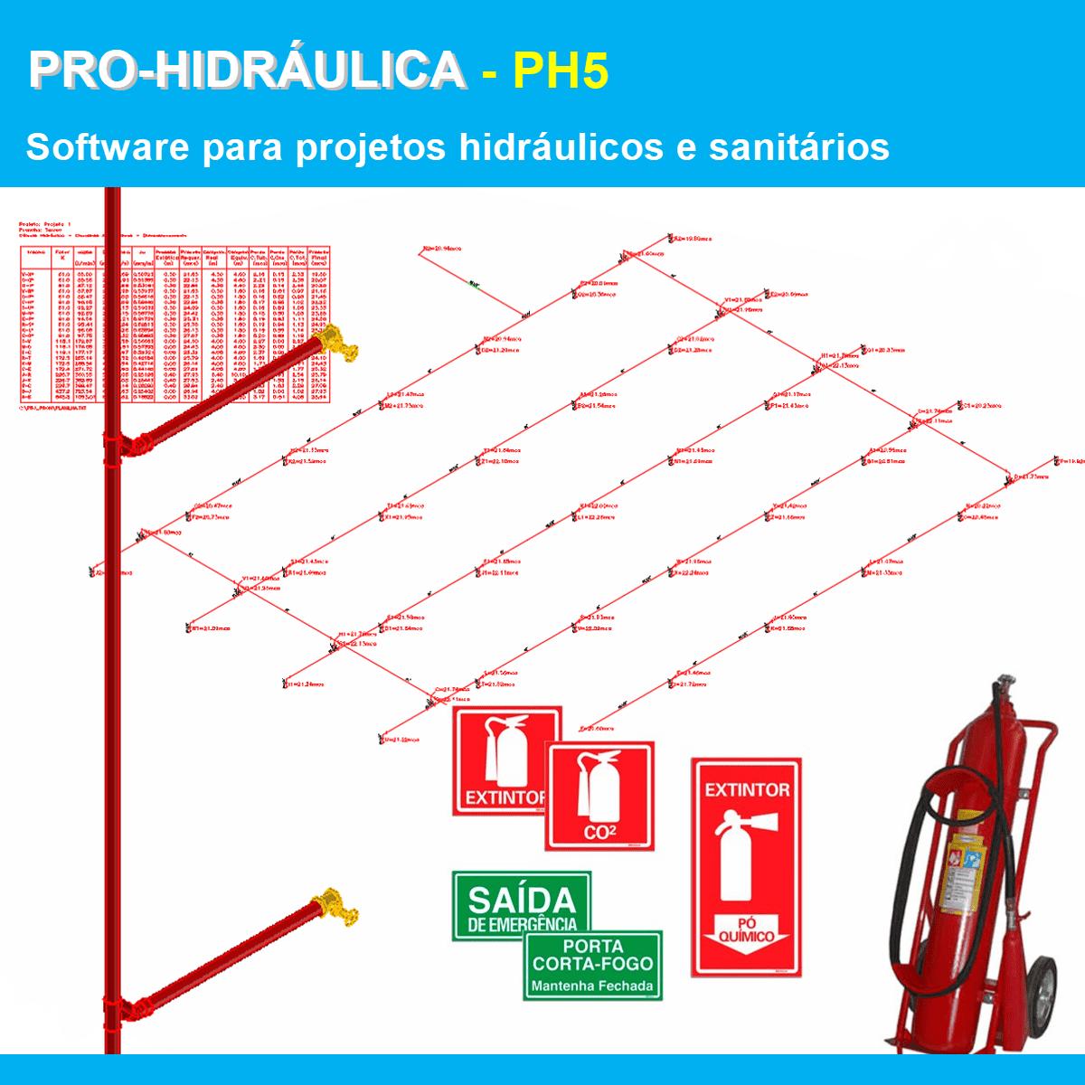 Software PRO-Hidraulica versão 18 Pacote PH5 incluindo Detalhamento e Incêndio  - MULTIPLUS SOFTWARES