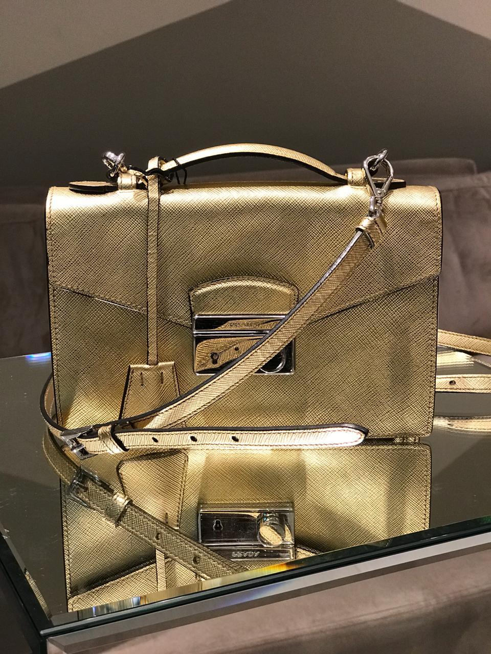 Bolsa Prada Dourada Saffiano
