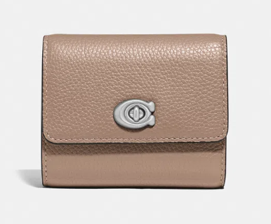 Carteira Turnlock Small Wallet Coach -Nude