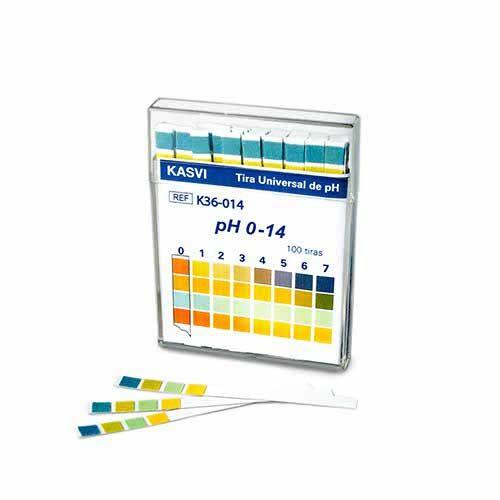 Tira - Fitas de pH Universal 0 - 14. 100 Un/cx