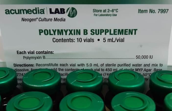 Suplemento de Polimixina B. 10 VIALS/CX