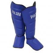 Caneleira Muay Thai MMA Azul Grande 40mm COURO - Pulser
