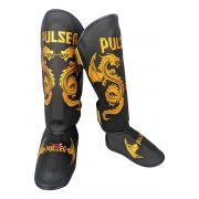 Caneleira Muay Thai MMA Dragão Preto Grande 30mm - Pulser