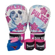 Kit de Boxe / Muay Thai Feminino 10oz - Caveira Azul e Rosa - Pulser