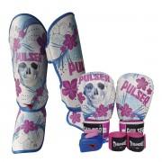 Kit de Muay Thai / Kickboxing Feminino 12oz - Caveira Azul Floral - Pulser