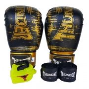 Kit de Boxe / Muay Thai 10oz - Preto Riscado - Thunder Fight
