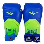 Kit de Boxe / Muay Thai 12oz - Azul com Verde - Pro Style - Everlast