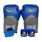 Kit de Boxe / Muay Thai 12oz - Azul - Pro Style - Everlast