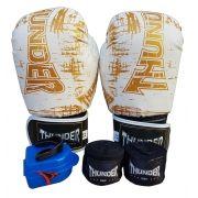 Kit de Boxe / Muay Thai 12oz - Branco Riscado - Thunder Fight