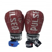 Kit de Boxe / Muay Thai 12oz - Vermelho Riscado - Pulser