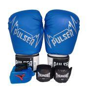 Kit de Boxe / Muay Thai 14oz - Azul Pulser Logo - Pulser