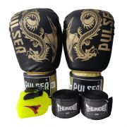 Kit de Boxe / Muay Thai 14oz - Dragão Preto / Dourado Riscado - Pulser