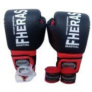 d73054f50 Kit de Boxe   Muay Thai 14oz - Preto com Vermelho - Fheras