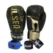 Kit de Boxe / Muay Thai 14oz - Preto e Dourado Riscado - Pulser