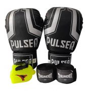 Kit de Boxe / Muay Thai 14oz - Preto Iron - Pulser