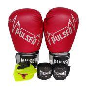 Kit de Boxe / Muay Thai 14oz - Vermelho Pulser Logo - Pulser