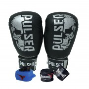 Kit de Boxe / Muay Thai 16oz - Preto Caveira - Pulser