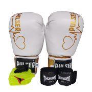 Kit de Boxe / Muay Thai Feminino 10oz - Branco e Dourado Coração - Pulser
