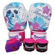 75e072e64 Kit de Boxe   Muay Thai Feminino 10oz - Caveira Azul com Rosa - Thunder  Fight