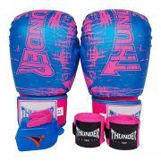 268795b38 Kit de Boxe   Muay Thai Feminino 12oz - Azul Riscado Rosa - Thunder Fight