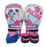 Kit de Boxe / Muay Thai Feminino 12oz - Caveira Azul e Rosa  - Pulser