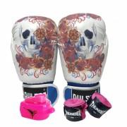 Kit de Boxe / Muay Thai Feminino 12oz - Caveira Azul Floral  - Pulser