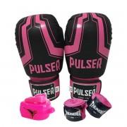 Kit de Boxe / Muay Thai Feminino 12oz - Preto e Rosa Iron  - Pulser