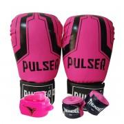 Kit de Boxe / Muay Thai Feminino 12oz - Rosa Iron  - Pulser