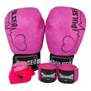 Kit de Boxe / Muay Thai Feminino 12oz - Rosa Vintage Coração  - Pulser