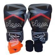 Kit De Boxe / Muay Thai 12oz - Preto - New Extreme - Naja