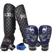 Kit de Muay Thai / Kickboxing 10oz - Azul Escuro Dragão - Pulser