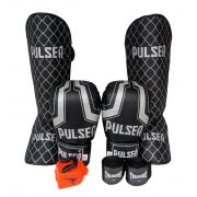 Kit de Muay Thai / Kickboxing 10oz - Iron Preto - Pulser