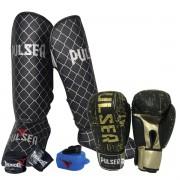 Kit de Muay Thai / Kickboxing 10oz - Preto e Dourado Pulser Logo - Pulser